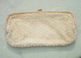 Beautiful Beaded Vintage Clutch Purse with Rhinestone Snap Closure - $28.00