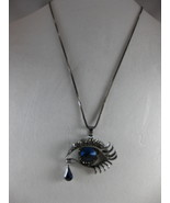 NEW Betsey Johnson Rhinestone Blue eye  with tear Pendant on Lo... - $24.50