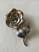 Vintage Coro Signed Goldtone Layered Flower w Center Rhinestone Pin Broo... - $13.09