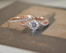 1CT Round Cut Sim Diamond Bridal Engagement Ring Set 14K Rose Gold Over - $79.99