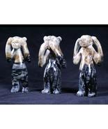 Zuni Picasso Marble Bears Fetish Set SEE NO EVIL, SPEAK NO EVIL, HEAR NO... - $798.00