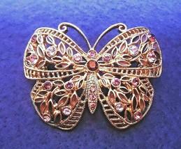 Vintage Butterfly Brooch Purple Pink Shades of Rhinestones 1970s - $19.50