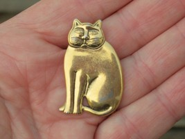 """Vintage signed Laurel Burch """"Mystic"""" cat brooch gold toned bas relief kitty - $24.74"""