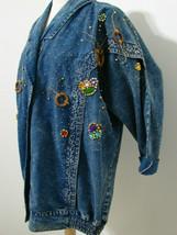 PRET Vintage Jacket 1980's Hand Bead & Jeweled Batwing Sleeve Gathered B... - $62.99