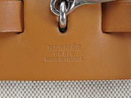 Auth HERMES Her Bag 2 in 1 Beige Canvas and Leather Hand Shoulder Bag #31320 image 9
