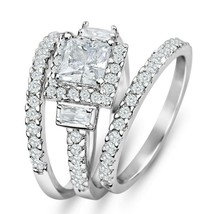 3pcs 925 Sterling Silver Halo Princess Cut Wedding Engagement Ring Set 4-10 - $87.47