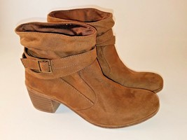 American Eagle Brown Faux Suede Slip On Ankle Boots for Women w/Buckles, Size 7 - $16.83