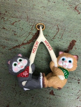 1992 Hallmark Keepsake Xmas Ornament Holiday Wishes, 2 Kittens Pulling Wishbone - $6.93