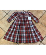 STRASBURG CHILDREN HOLIDAY XMAS SMOCKED DRESS RED BLUE GREEN PLAID BOW 2... - $85.50