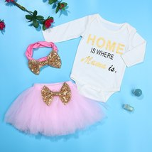 3pcs Summer Baby Kids Girls Clothes HOME Printing Sleeveless Romper Mesh Skirt W image 2
