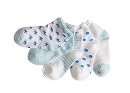 Five Pairs Summer Thin Cotton Comfortable BLUE Baby Socks