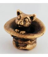Cute, tiny kitten in the hat - a bronze minature, statuette, charming cat - $8.00