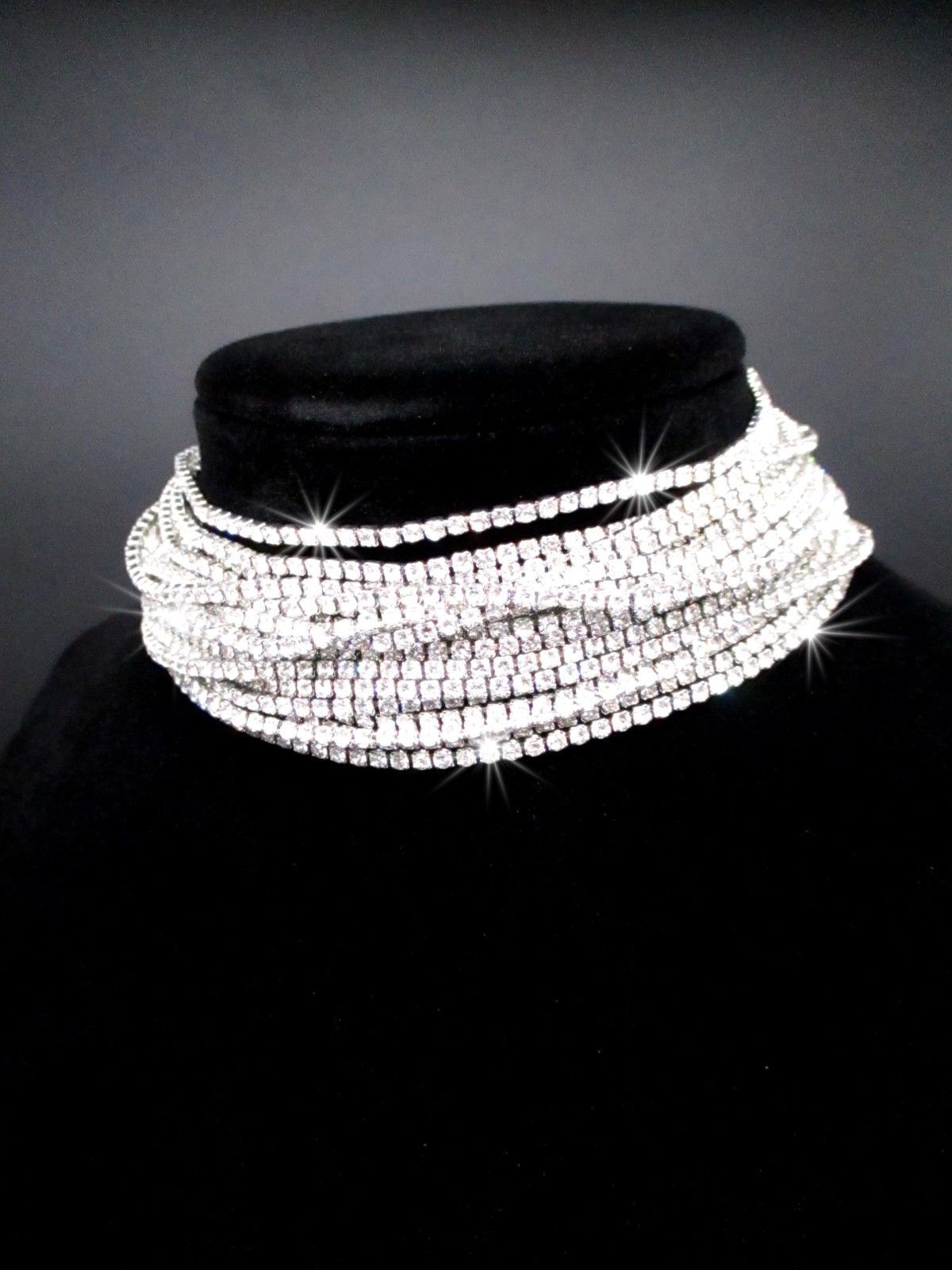 WOMEN FASHION CHOKER NECKLACE BRIDAL SILVER GOLD JEWELRY SPARKLING BOHO CHOKER