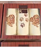 Finger tip Towels Set of 3 Embroidered Golden Lab Dog New Gift Boxed - $27.60