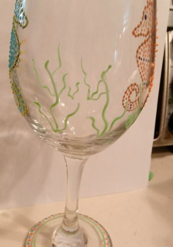 Unique Glow 3 Dimensional Wine Goblet Seahprse Summer Glow in the Dark Painted