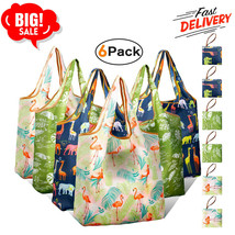 6X Reusable Grocery Shopping Bags with Pouch Heavy Duty Nylon Cloth Reus... - $20.56