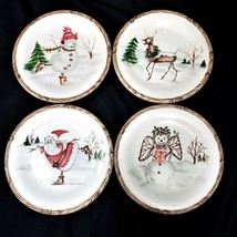 American Atelier CHRISTMAS TWIGS 4 Bread and Butter Cake Plates - $33.88