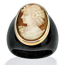 Genuine Shell Cameo and Onyx 10k Yellow Gold Classic Ring - $134.82