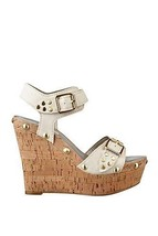 new guess lalai platform wedges size 6 M ivory leather - $75.00