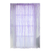 (purple)4 Colors Pastoral Style Willow Floral Print Tulle Curtains for B... - $18.00