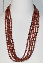 Light Brown Acrylic Multi-Strand Bead Beaded Necklace Vintage - $29.69