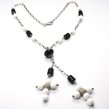 SILVER 925 NECKLACE, ONYX BLACK TUBE, DOUBLE CROSS PENDANT, CHAIN OVAL image 1