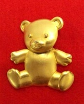 J. JILL ARTICULATED TEDDY BEAR GOLD TONED DANGLE PIN BROOCH CHRISTMAS HO... - $9.49
