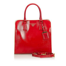 Pre-Loved Prada Red Patent Leather Saffiano Vernice Satchel Italy - $846.31