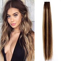 Lacerhair Tape in Balayage Natural Hair Extensions Straight Chocolate Brown to S image 1