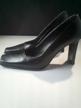 Nine West Square Toe Block Heels Black  Pumps Made In Spain, Size 6 M - $30.49