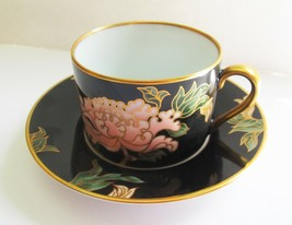Fitz & Floyd Fine China CLOISONNE PEONY Black Cups & Saucers Mint - $11.87