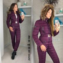 European Women's OnePiece Pink Duck Down Fur Lined Hooded Pink Ski Suit Snowsuit image 13