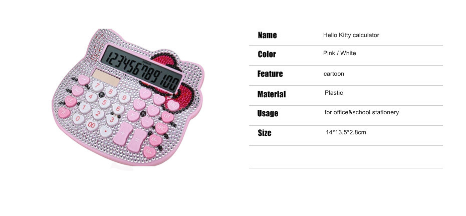 2017 Hot Sale Middle Size 12 Digit Solar Hello Kitty Calculator