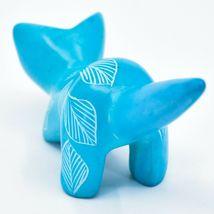 Tabaka Chigware Hand Carved Kisii Soapstone Sky Blue Pouncing Kitten Cat Figure image 3
