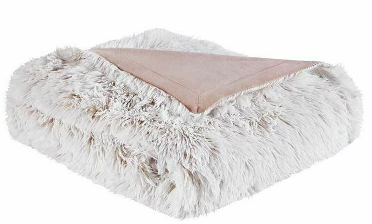 "Luxury Intelligent Design 50""x60"" Maddie Shaggy Faux Fur Throw Blanket - Blush"