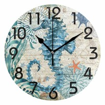 "Wall Clock 9.5"" Seahorse Colorful Vintage Style Coastal Beach House Naut... - $39.00"