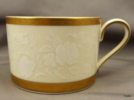 Mikasa Antique Lace L5531 Flat Cup Gold Encrusted White Floral Lace Rim 8 oz - $9.03