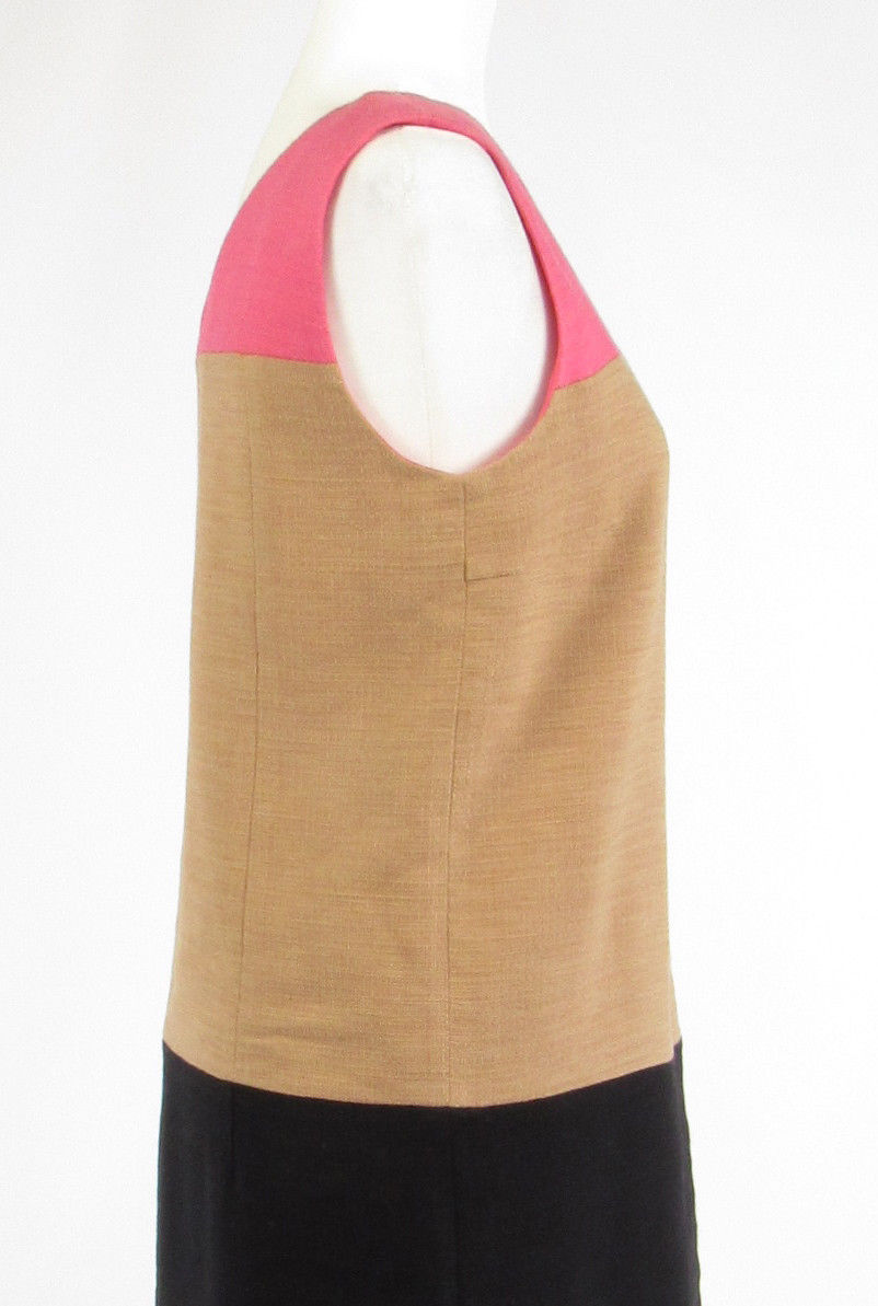 Pink brown color block tweed DKNY NEW YORK sleeveless shift dress 8