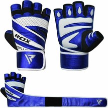 RDX MMA Kick Boxing GYM PAPER LEATHER GLOVES BLUE COLOR TOP QUALITY GREA... - $67.00