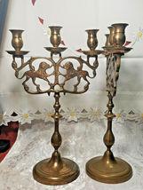 "PAIR OF ANTIQUE BRASS 3 Light Sabbath Shabbos Candelabrum 14 1/4"" T X 9"" W  image 4"