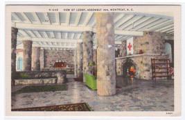 Lobby Interior Assembly Inn Montreat North Carolina linen postcard - $5.94