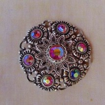 Vintage Brooch Pin round Fashion Jewelry Filigree and rhinestones flower... - $7.59