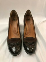 Women's Sofft Slip On Pumps Burgundy Shoes Size 10 Heeled Leather #1035820 - $24.14