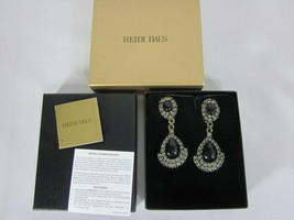HEIDI DAUS Drop Dangle Black and Crystal Clip-On Earrings - $49.49