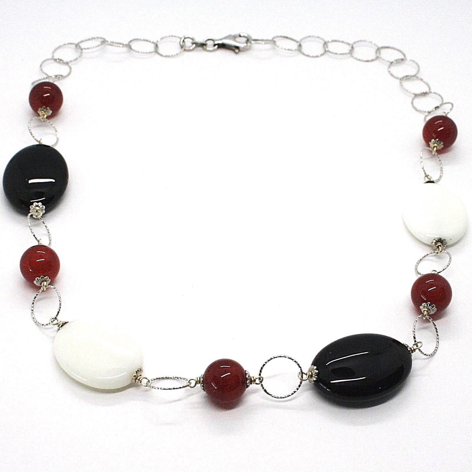 925 Silver Necklace, White Agate, Onyx, Carnelian, Chain Rolo worked