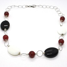 925 Silver Necklace, White Agate, Onyx, Carnelian, Chain Rolo worked image 1
