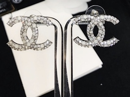 AUTHENTIC CHANEL CRYSTAL LARGE CC LOGO RHINESTONE EARRINGS SILVER image 6
