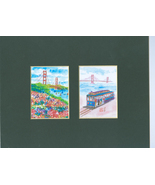 Miniature Golden Gate Bridge Brush Paintings Set of 2 - $14.00