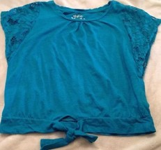 MUDD Girls Top Blue Short Sleeve w/ Lace Overlay Size Medium 10-12 Cute - £6.13 GBP