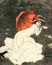 Le Frou Frou: Girl In Garden With Umbrella - $12.82+